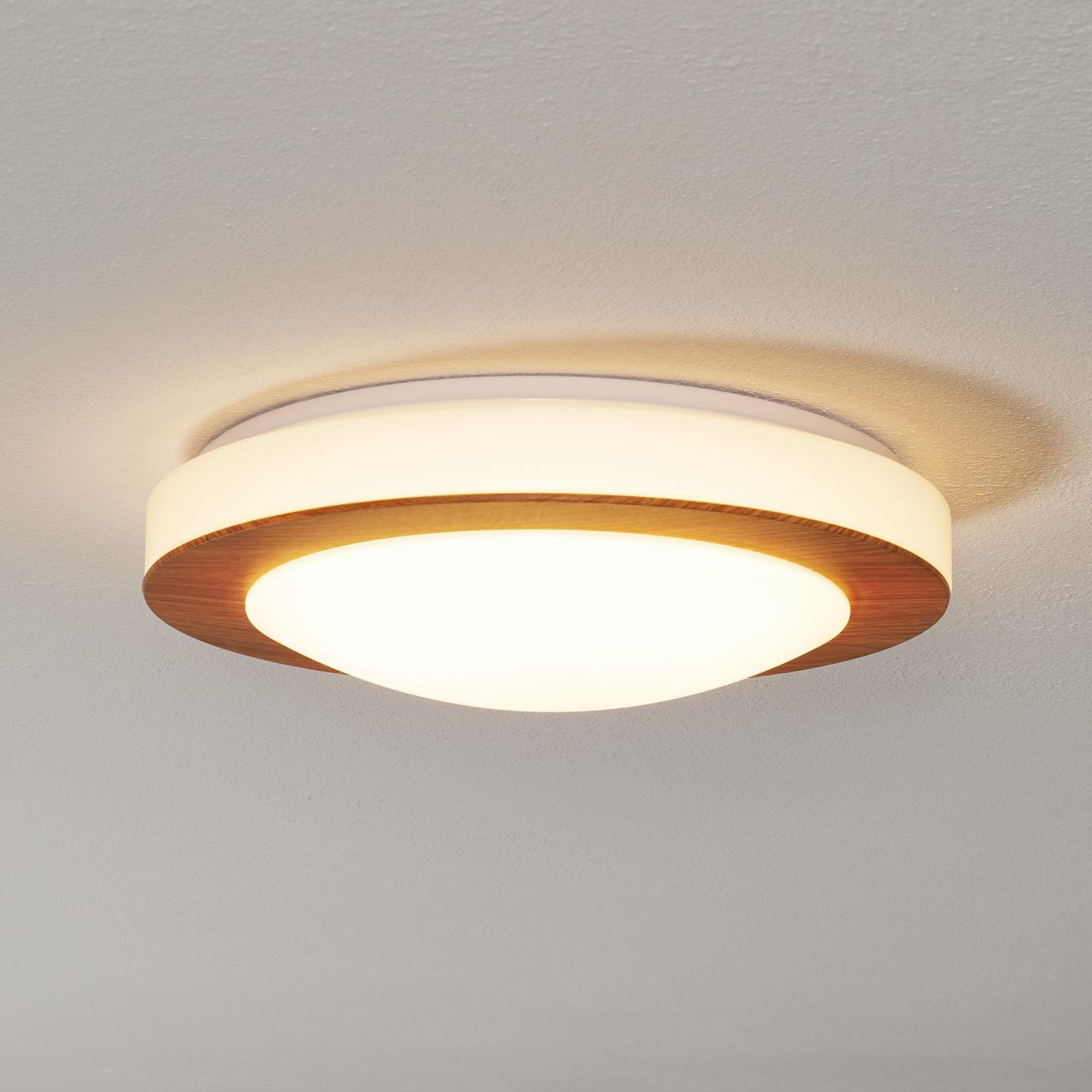 Ronde LED plafondlamp Gordon m. houten afwerking