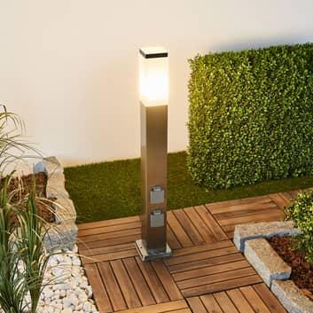 LED-Wegeleuchte 400166, Edelstahl mit 2 Steckdosen