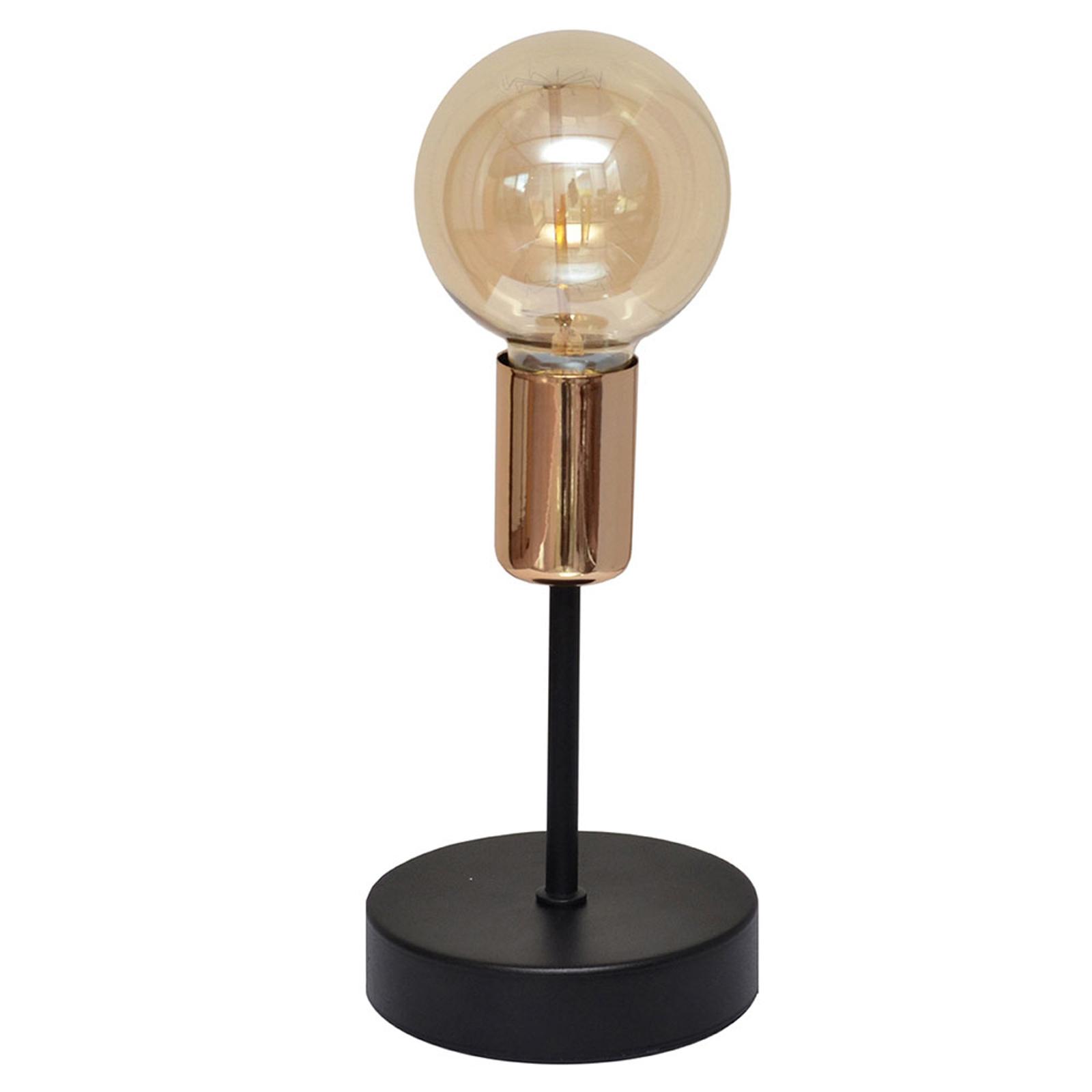 Lampa stołowa Tube czarna z detalem miedzianym