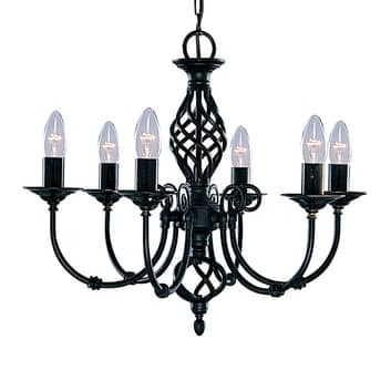 Elegant takkrona ZANZIBAR, 6 ljuskällor svart