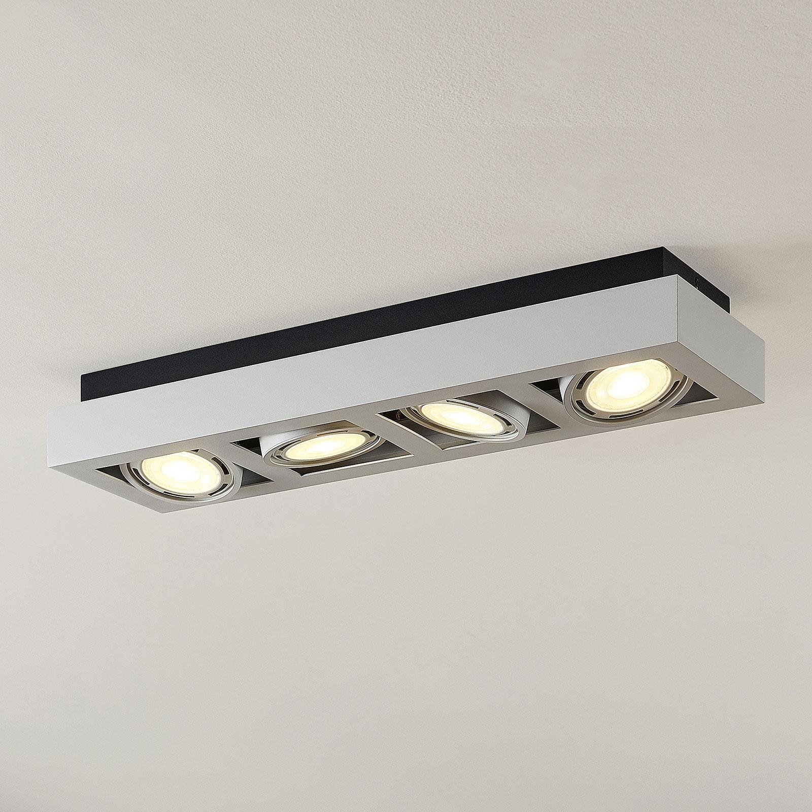 Plafoniera LED Ronka lunga, 4 luci, bianca