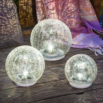 3-tlg. LED-Solarleuchtenset Crackle Ball