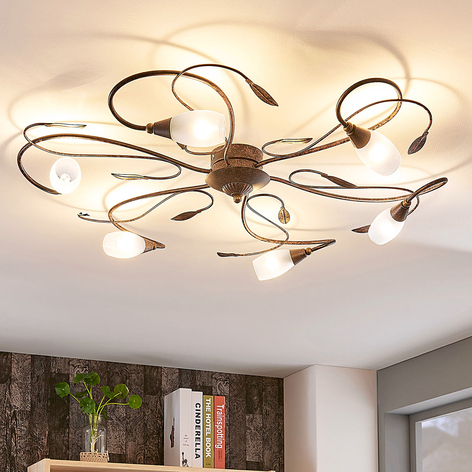 Speelse plafondlamp Claudi, antiek bruin