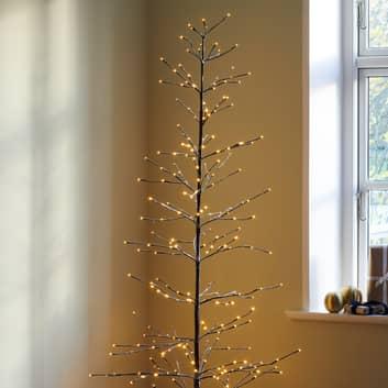 Arbre LED Isaac hauteur 210cm brun, blanc enneigé