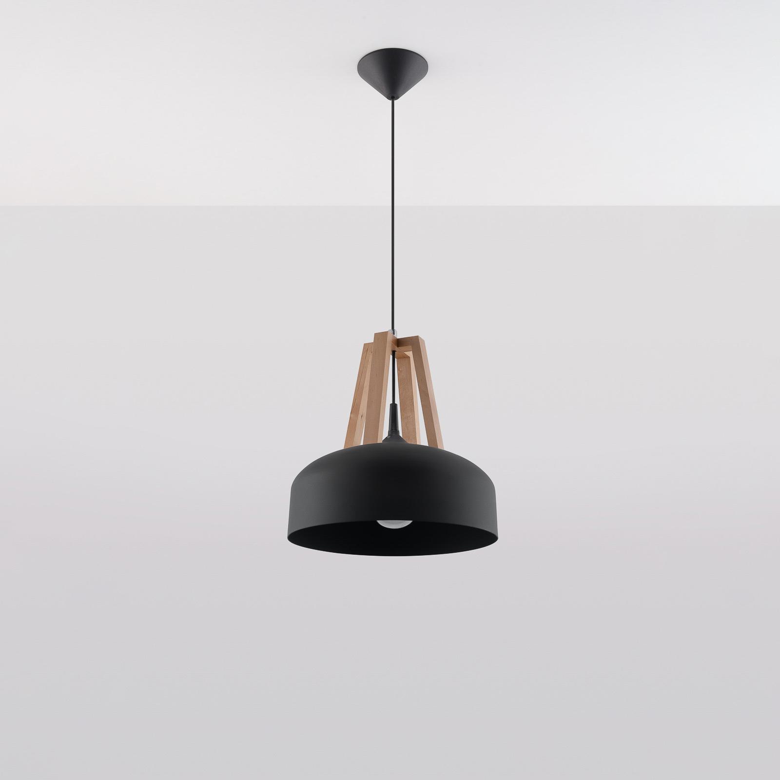 Hanglamp North met hout natuur zwarte kap