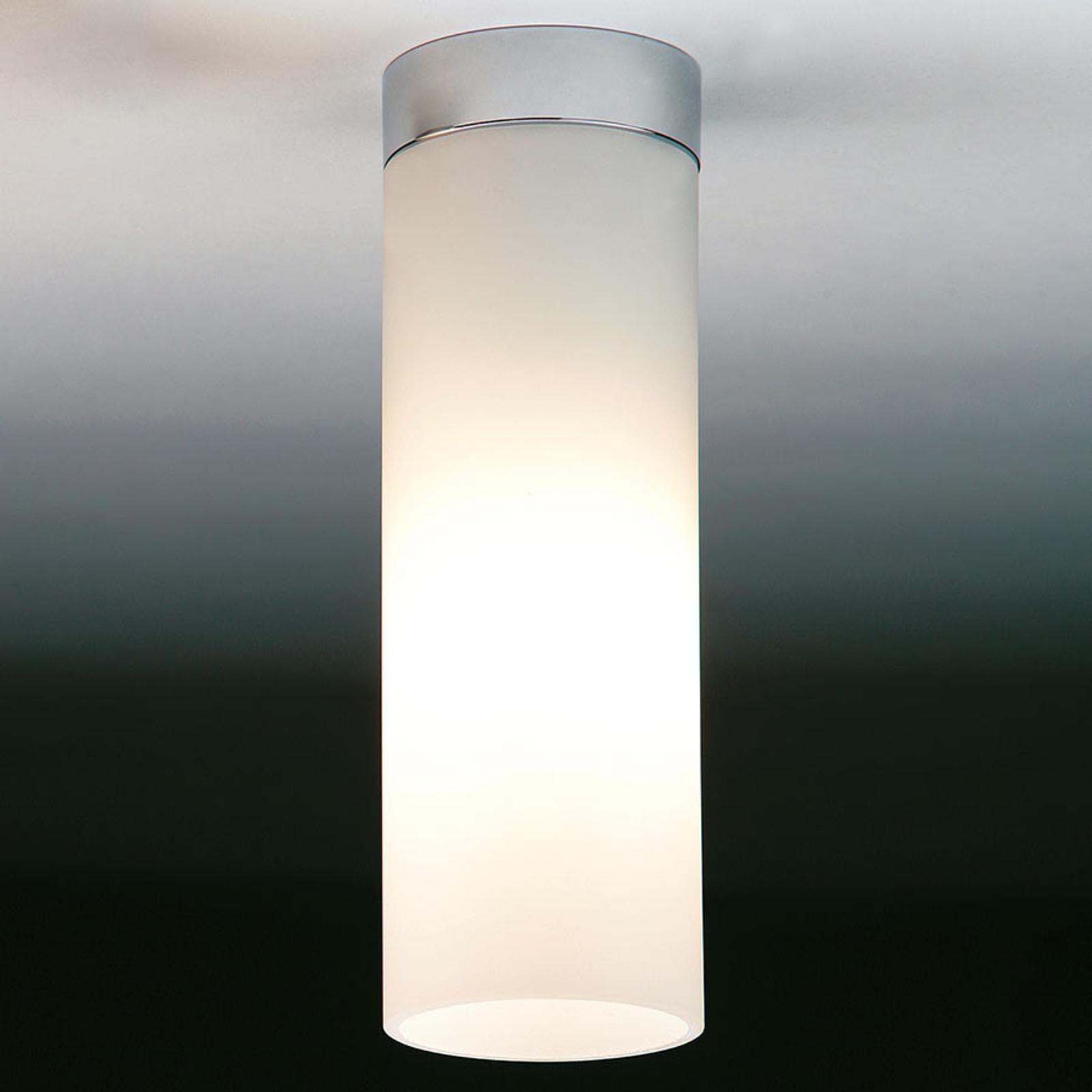 Biała matowa lampa sufitowa DELA BOX, nikiel mat