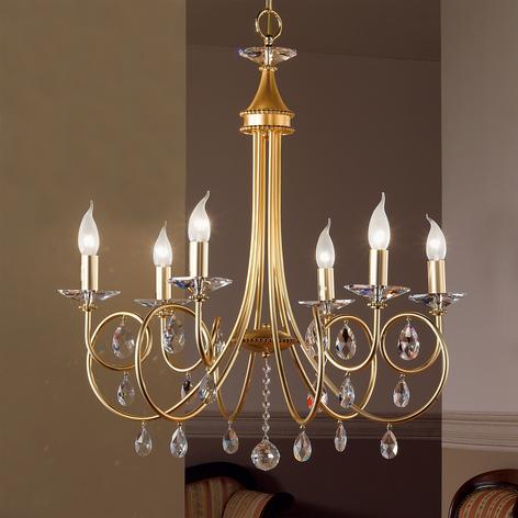 Lámpara de araña de 6 llamas VIOLETTA oro