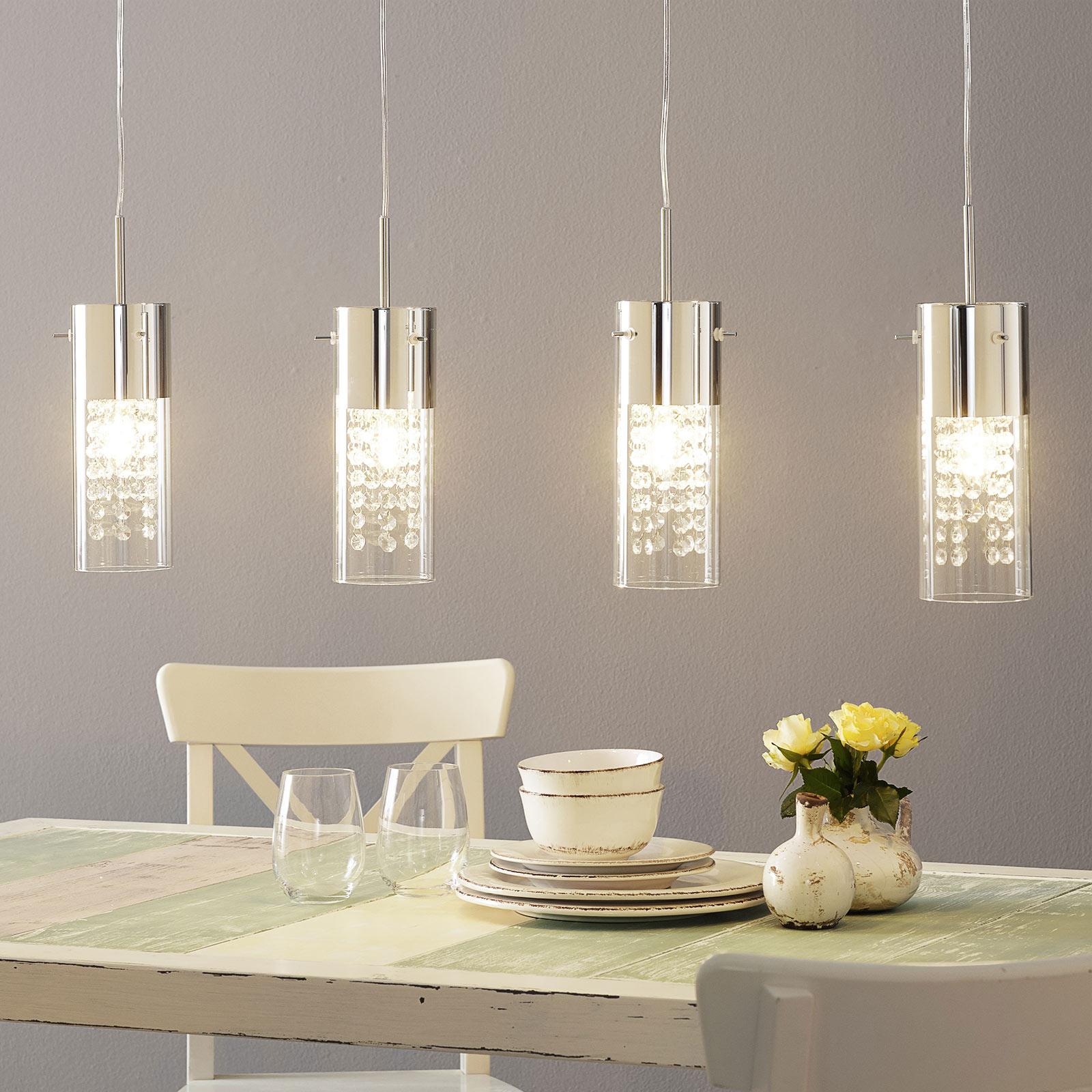 Affascinante lampada a sospensione Diamond 4 luci
