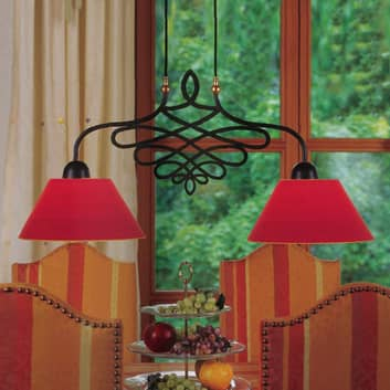 Hanglamp SORENT met rode kappen