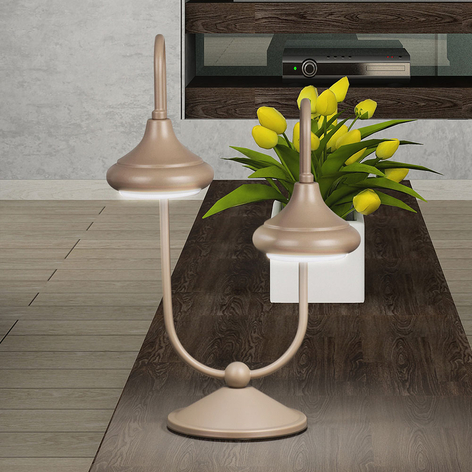 Lámpara de mesa 1680/2L 2 luces, havana beige