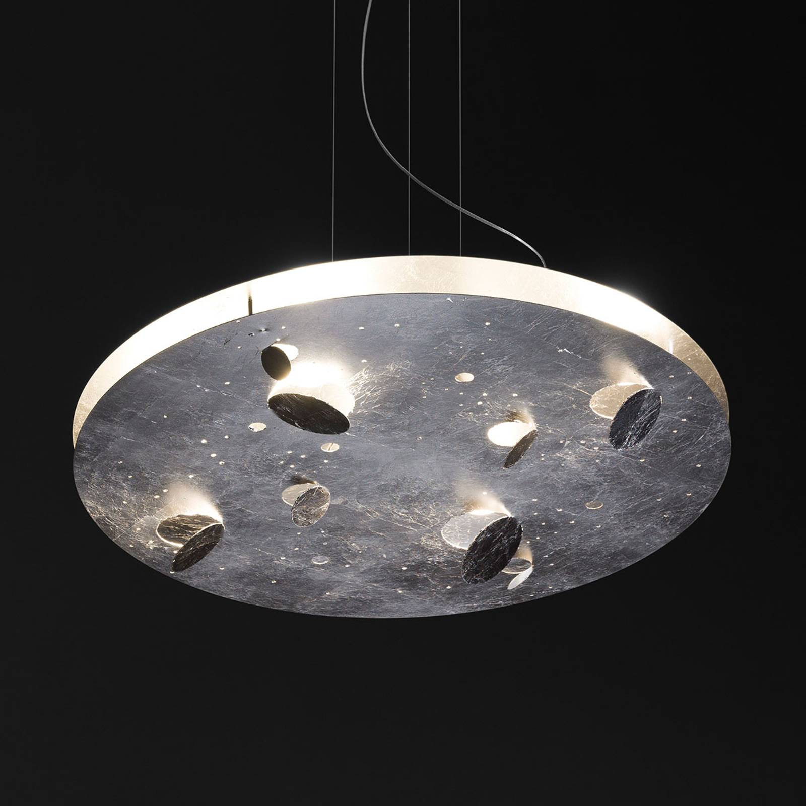 Knikerboker Buchi lampa wisząca LED okrągła srebro