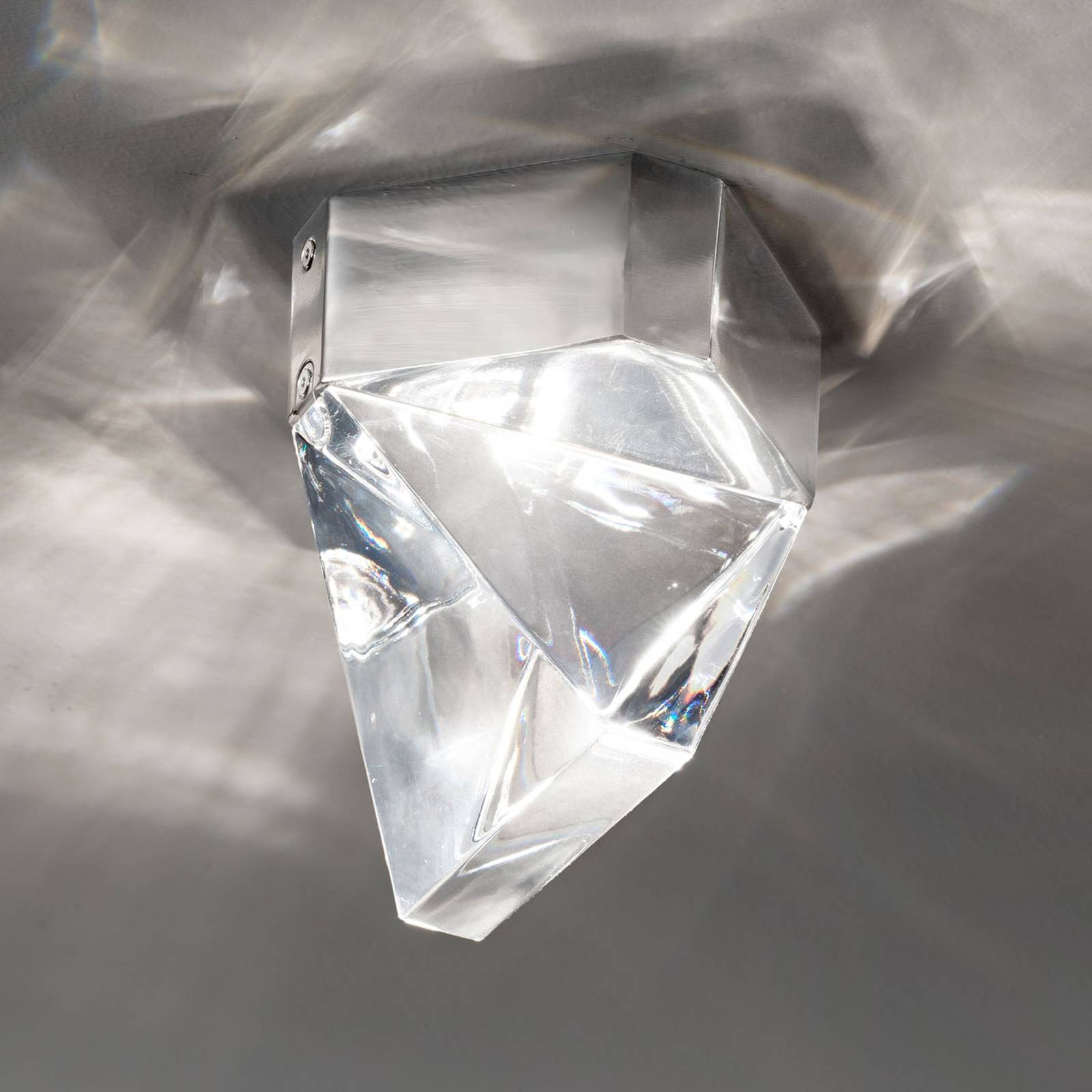 Fabbian Tripla - LED kristal-plafondlamp, alu