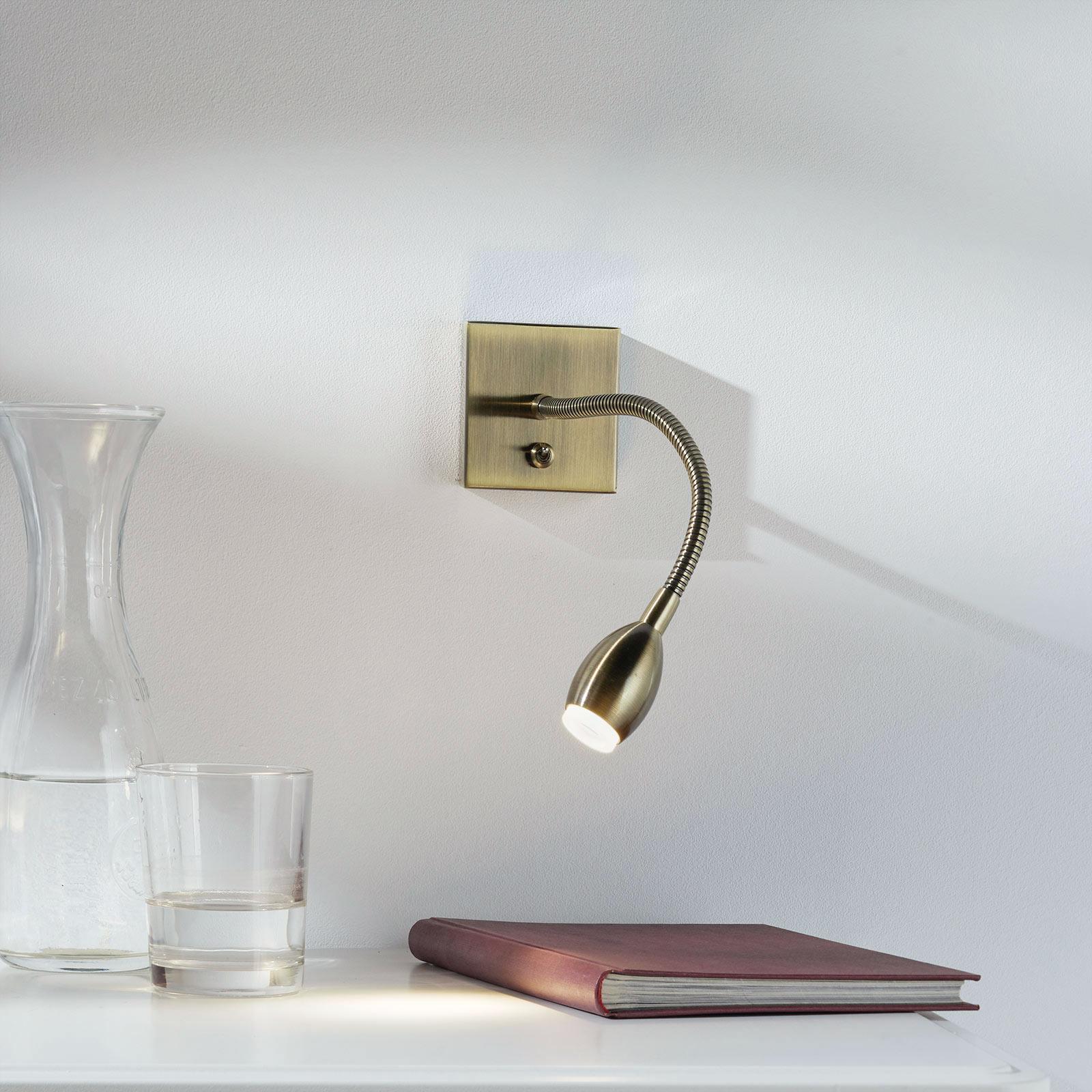 Led-wandlamp PILAR met flexibele arm, oud-messing