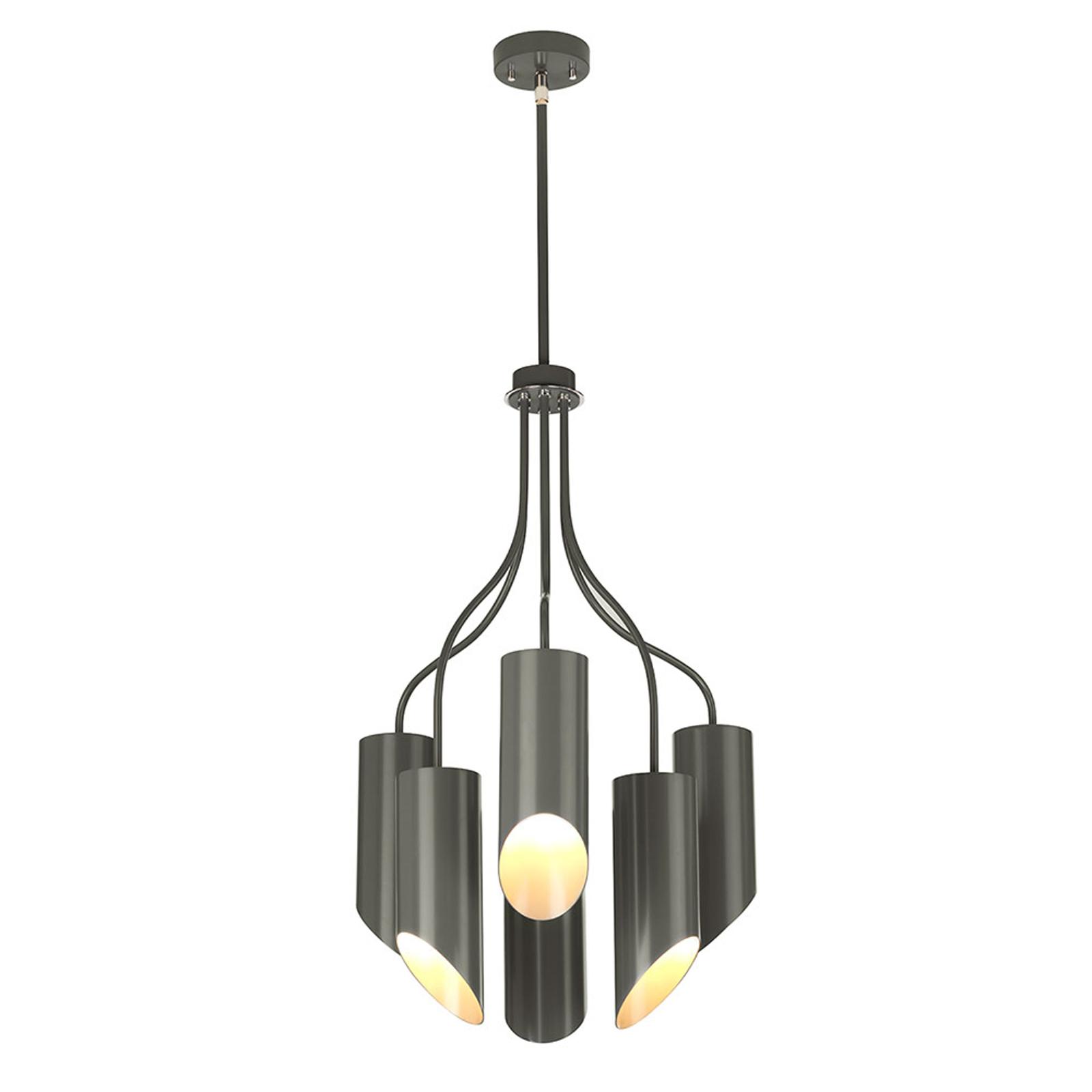 Hanglamp Quinto 6-lamps, donkergrijs/nikkel