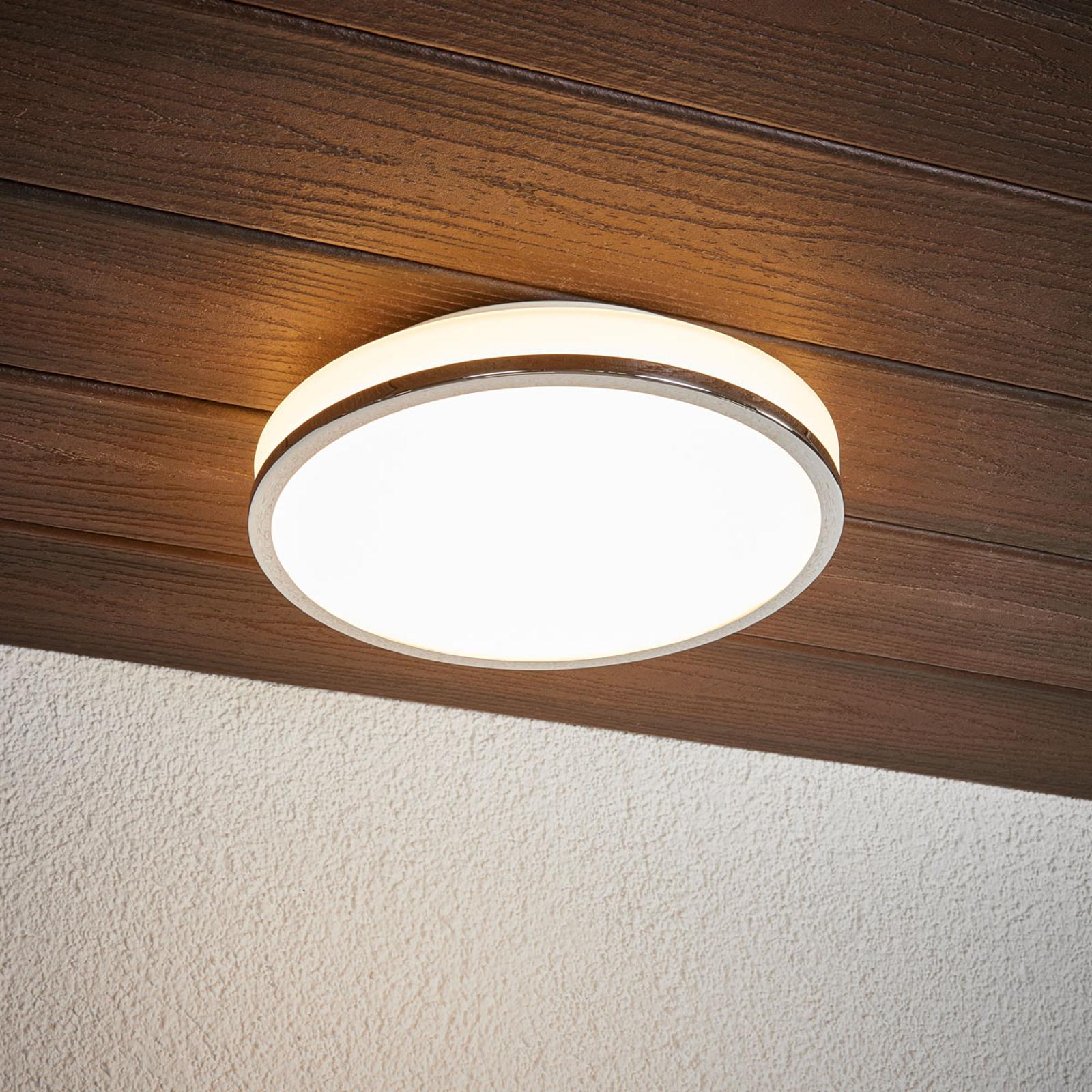 Ronde LED plafondlamp Lyss met chromen rand, IP44