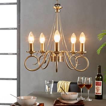 Marnia - lampadario a 5 luci ottone antico