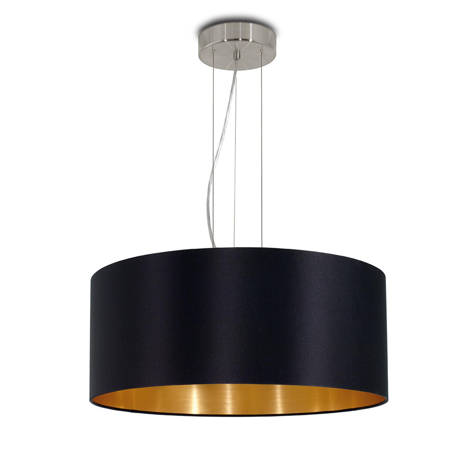 Lecio - lampada a sospensione di stoffa nero-oro