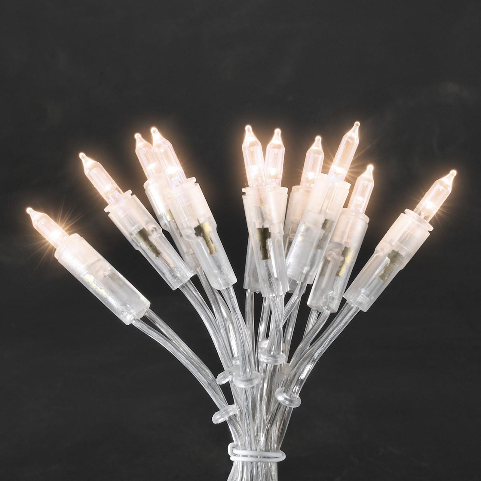 Varmvitt lysande miniljuskedja LED 50-arm, 8,85 m