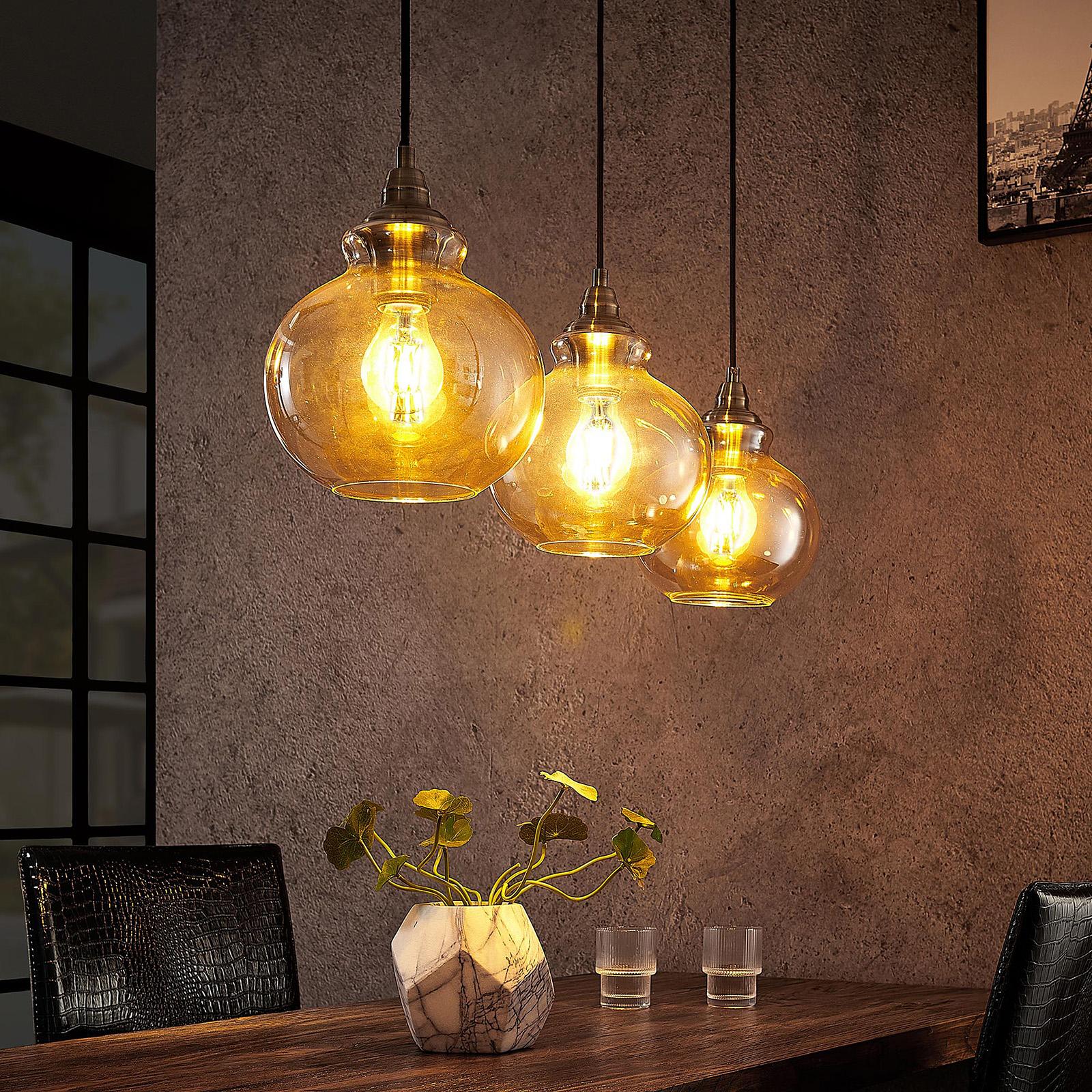Lindby Tymoni glass-pendellampe, rav, 3 lyskilder