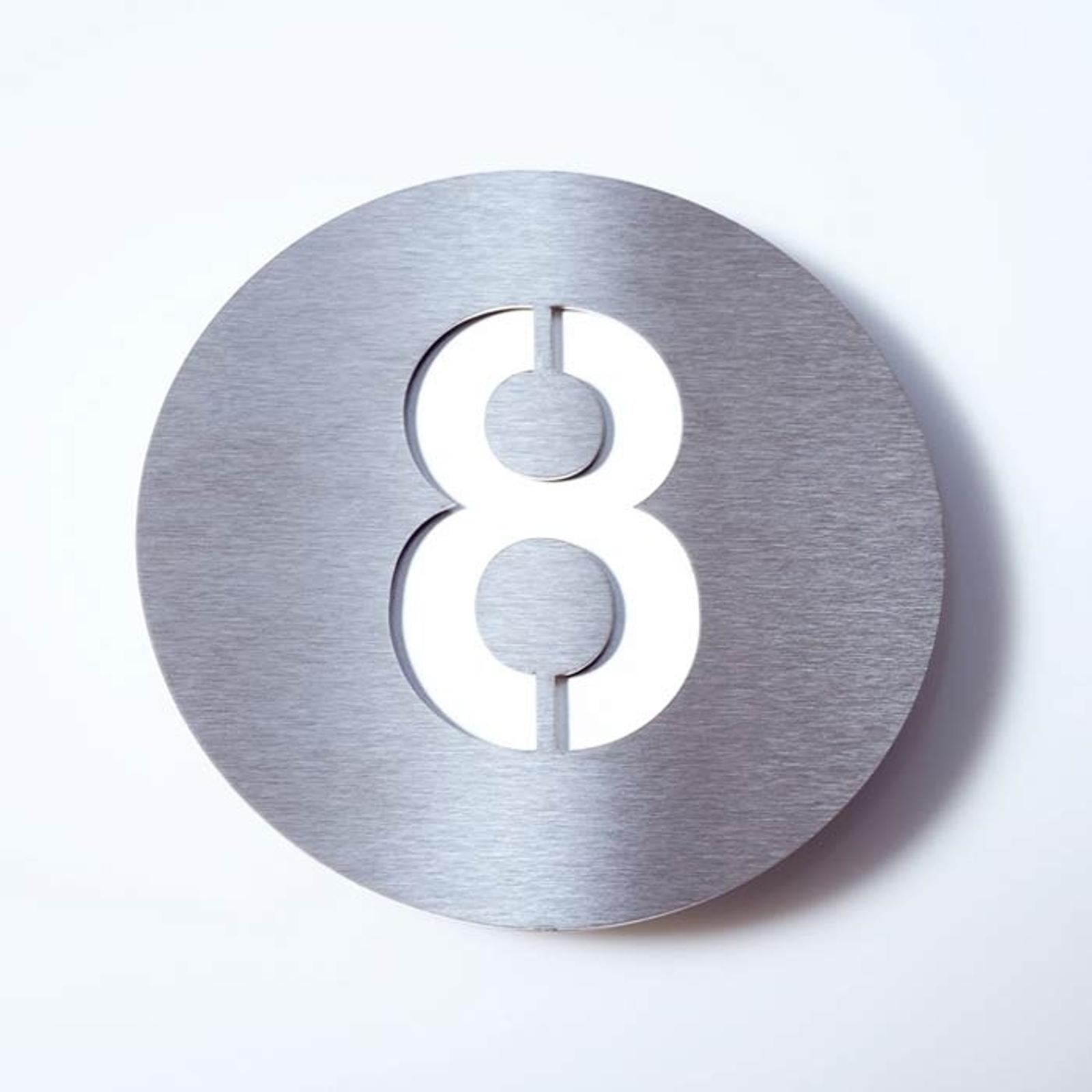 Hausnummer Round aus Edelstahl - 8