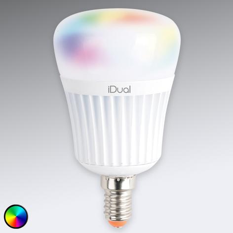 E14 iDual LED-pære 7 W RGB uten fjernkontroll