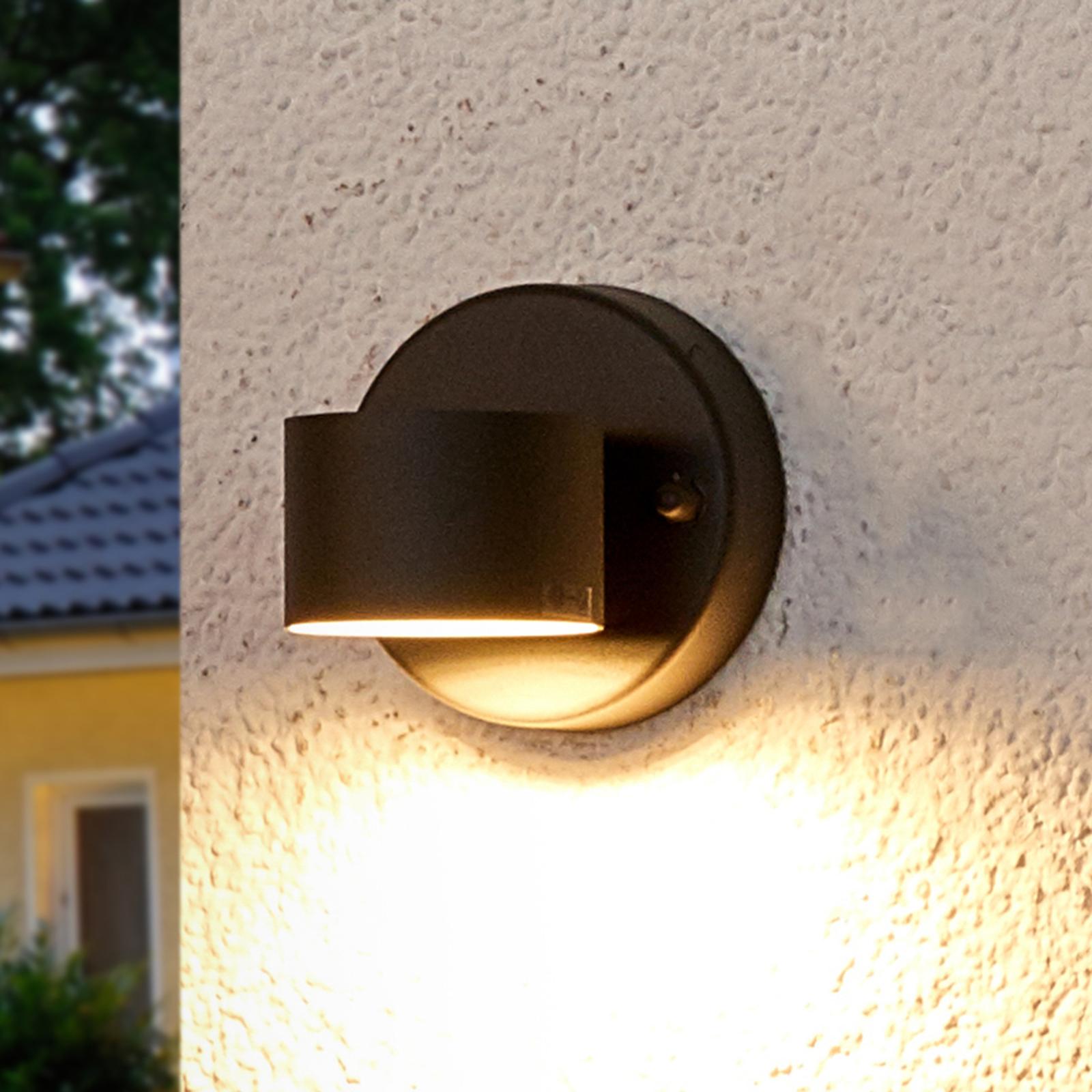 Grafietgrijze LED-buitenwandlamp Lexi