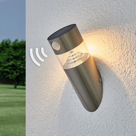 LED-solar-vegglampe Kalypso, skrått, sensor