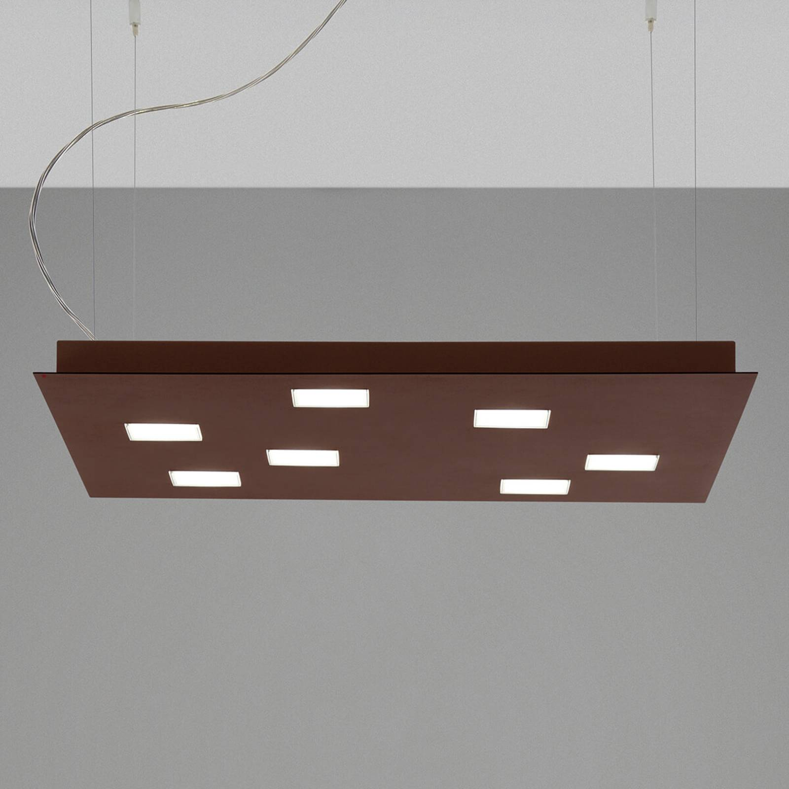 Hoekige LED hanglamp Quarter, bruin