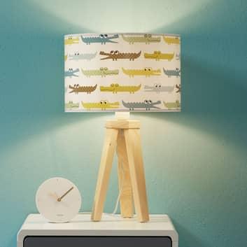 Färgglad bordslampa för barnrum Kroko med trä