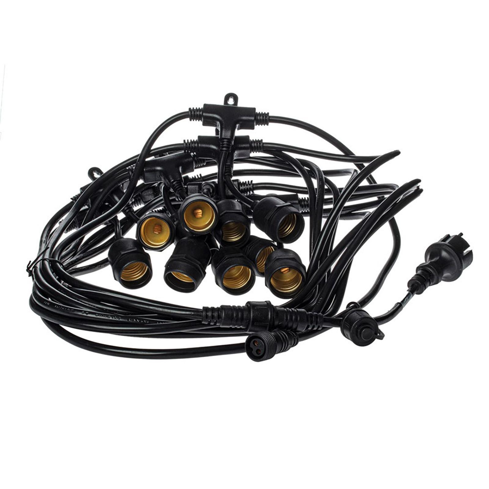 Lichterkette Girlanda IP44 schwarz 15m ohne Lampen