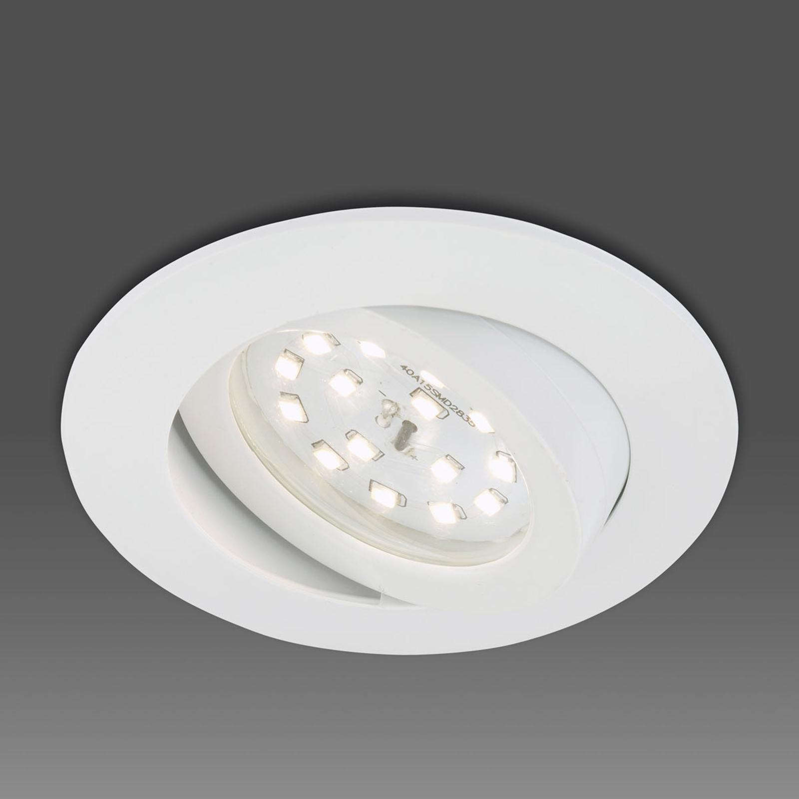 Lutbar LED-inbyggnadsspot Erik vit