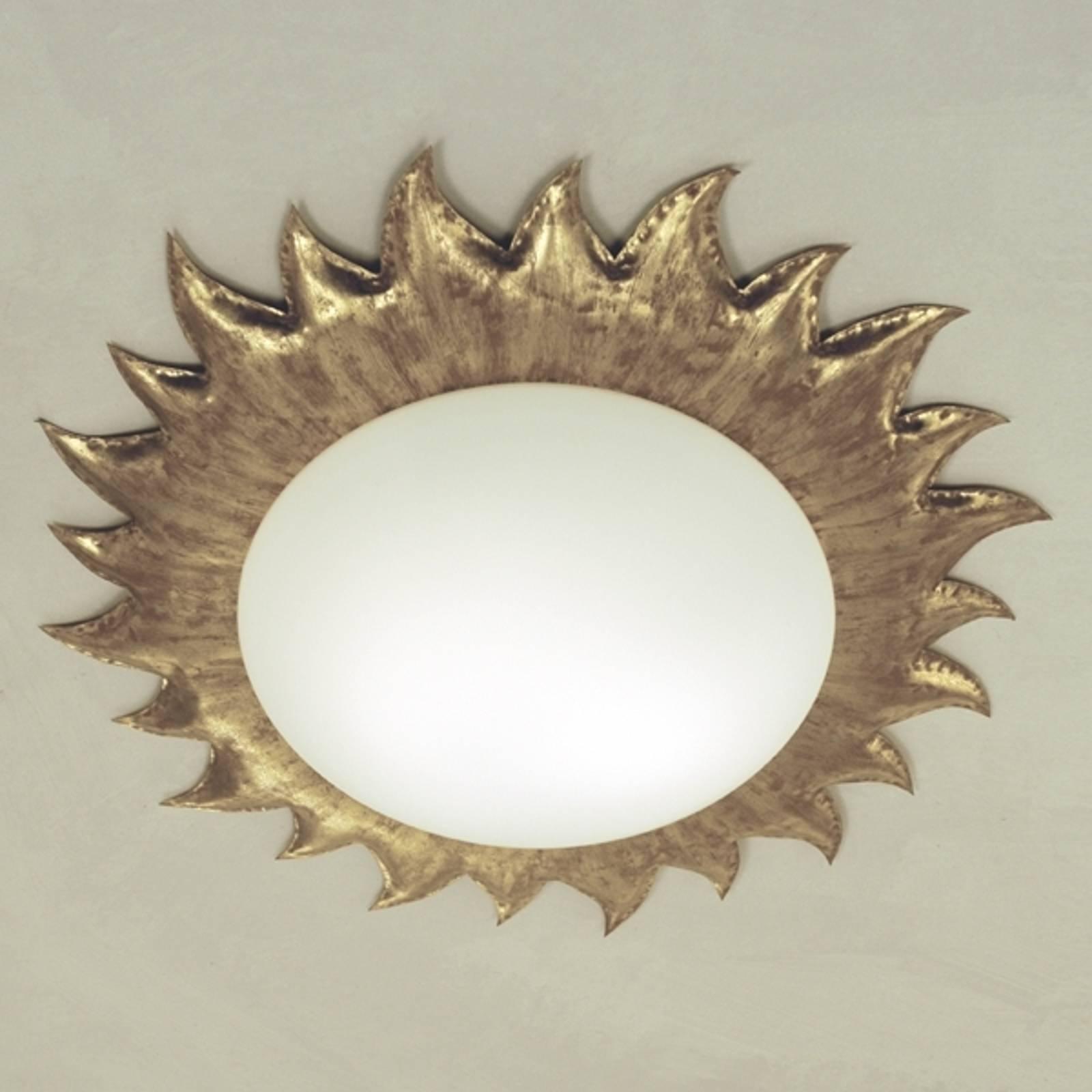 Goudkleurige plafondlamp SONNE met mat opaalglas