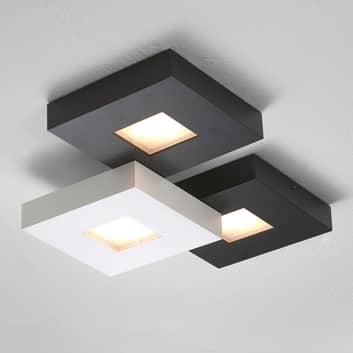 3-lamps LED-plafondlamp Cubus, zwart-wit