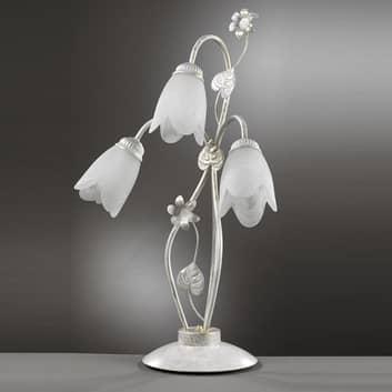 Lámpara de mesa florentina Petunia, 3 luces