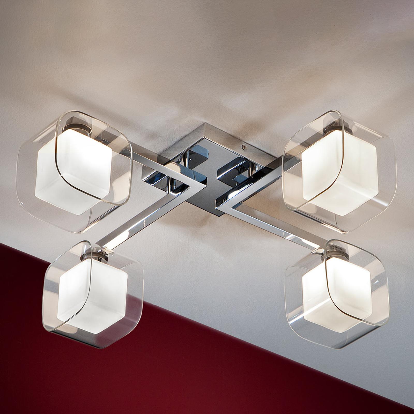 Cube – LED-taklampe med fire doble skjermer