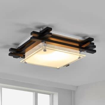 Plafondlampa EDISON i trä, mörk