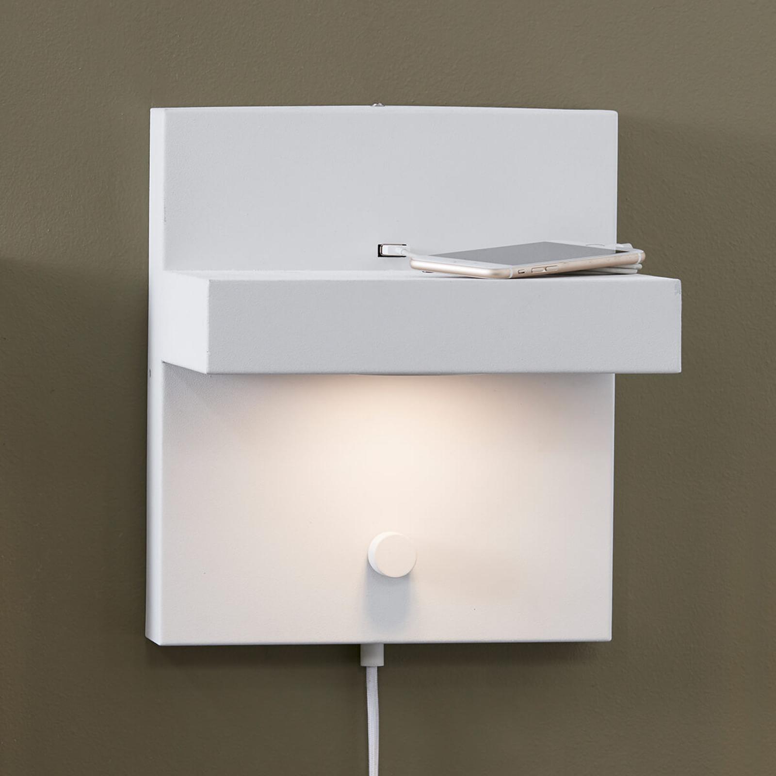Applique LED Kubik avec port USB, blanc