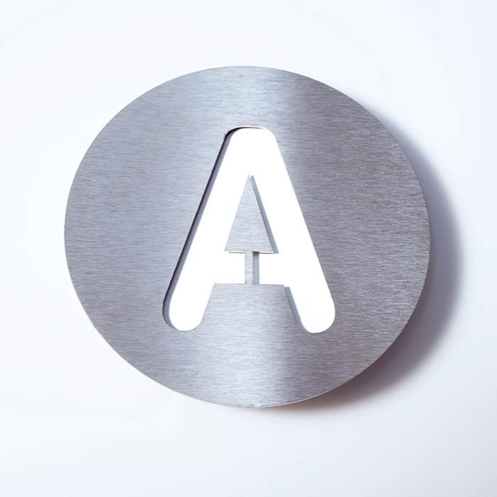 Husnummer Round av rustfritt stål - A