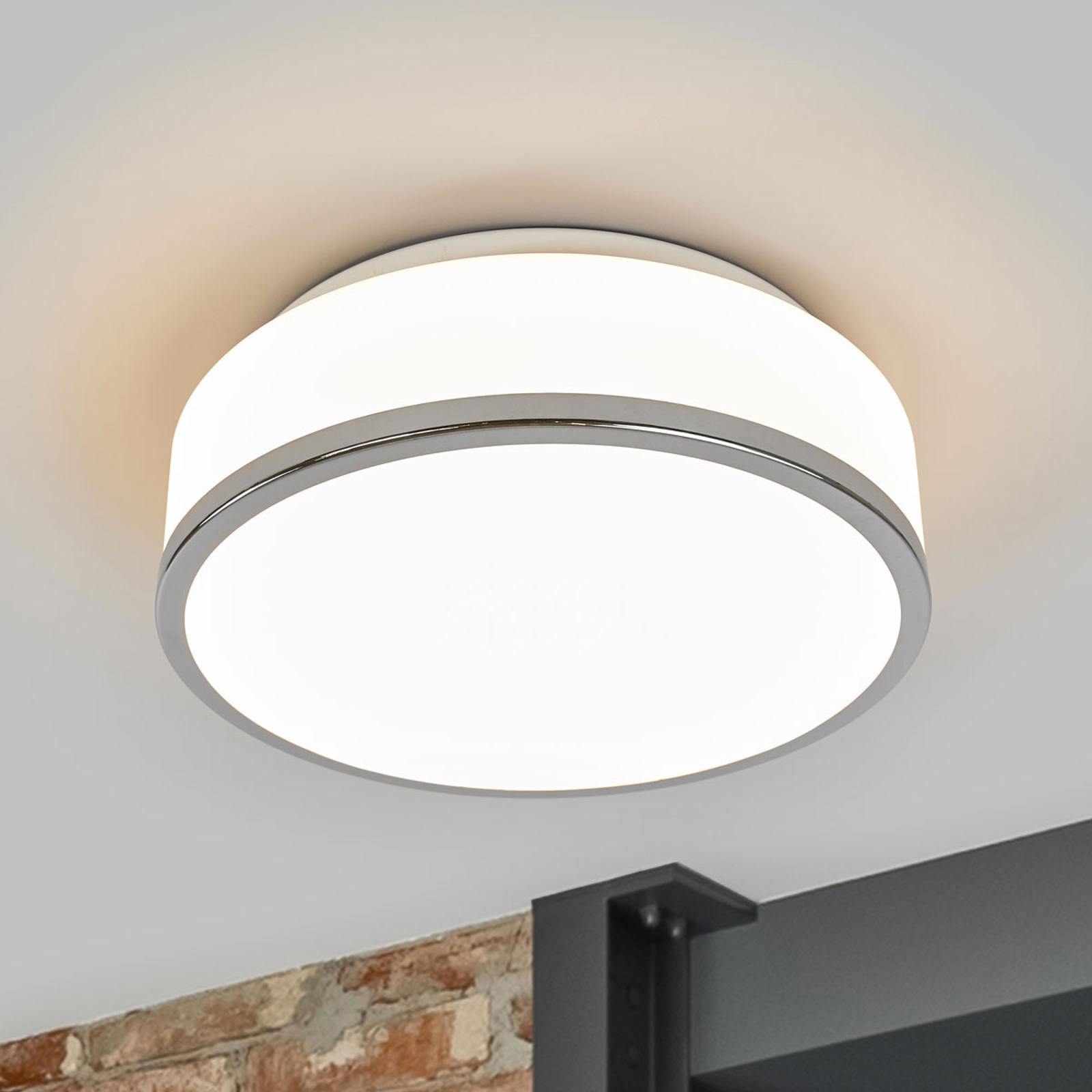 Lámpara de techo Flush IP44, Ø 28cm, cromo
