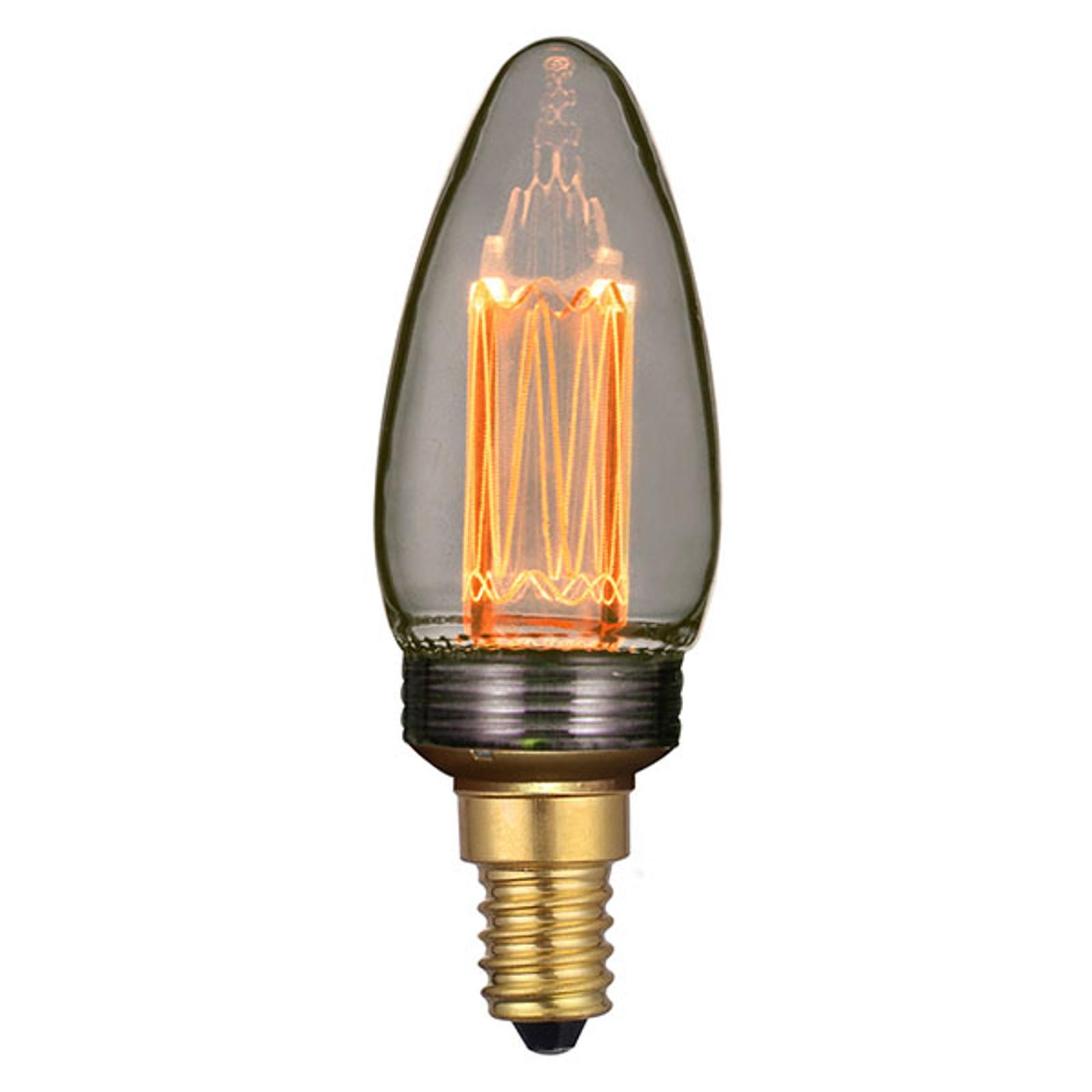 LED-Kerzenlampe E14 2W Filament, dimmbar, smoke