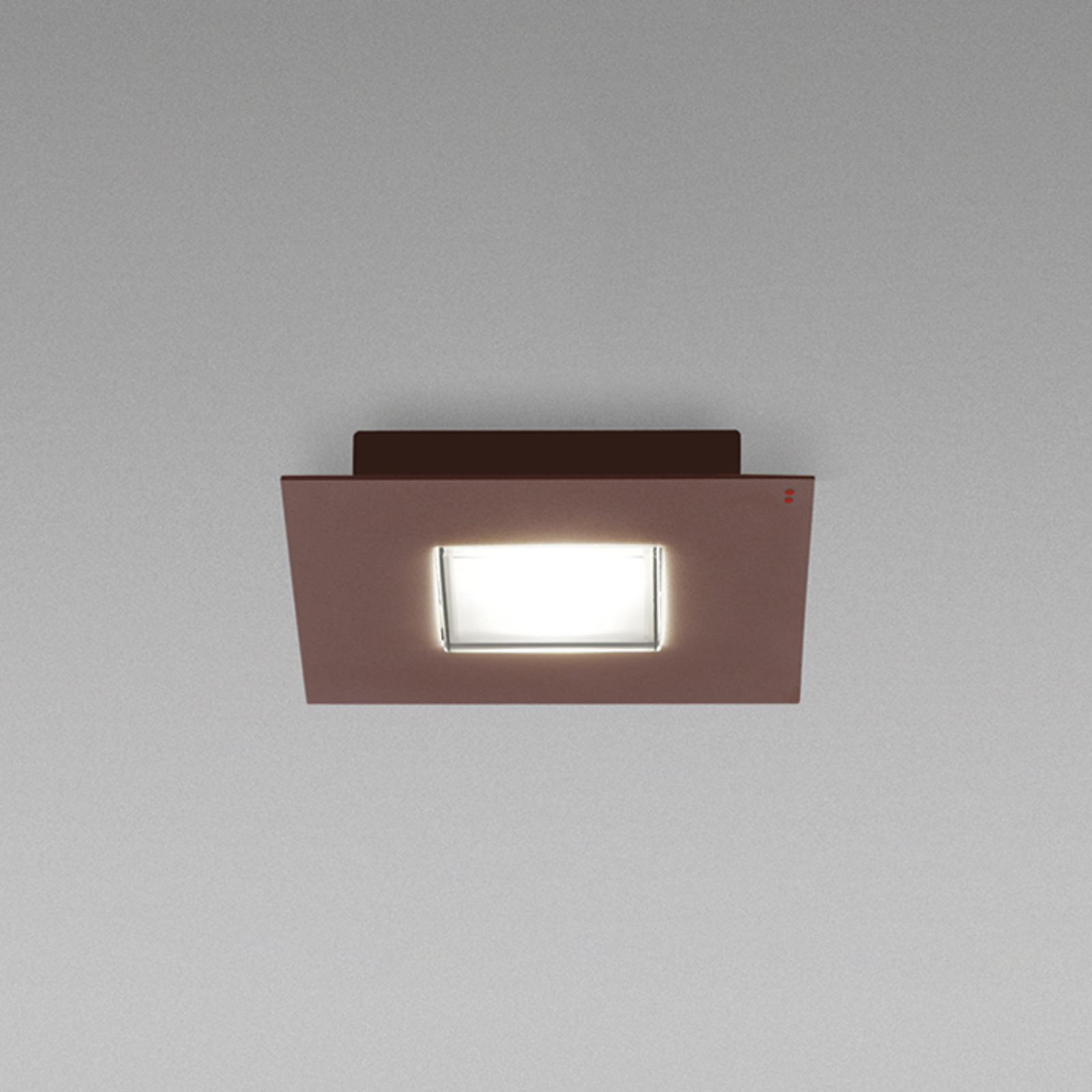 Fabbian Quarter -LED-kattovalaisin 2-lamp. ruskea