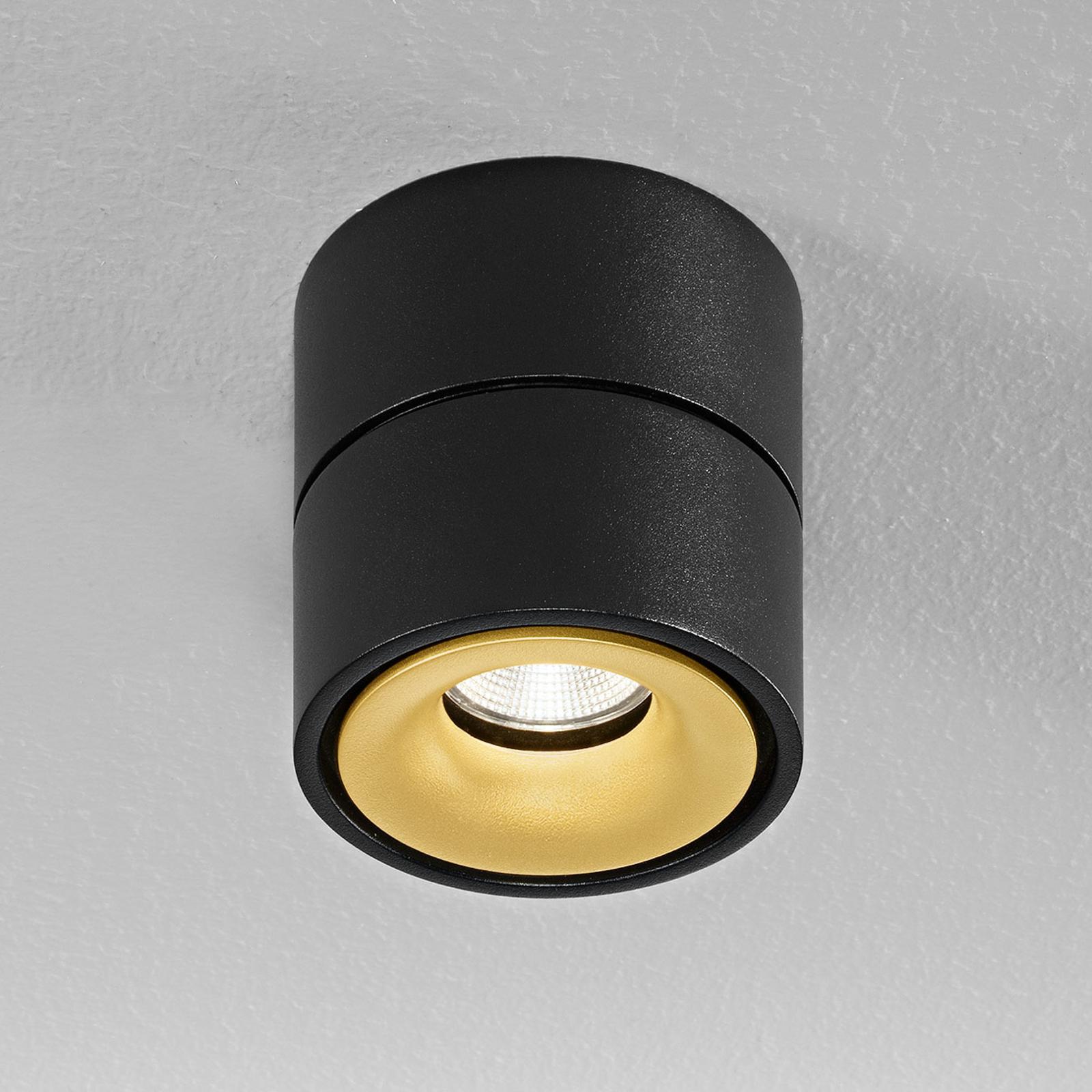 Egger Clippo LED-Deckenspot, schwarz-gold, 3.000K