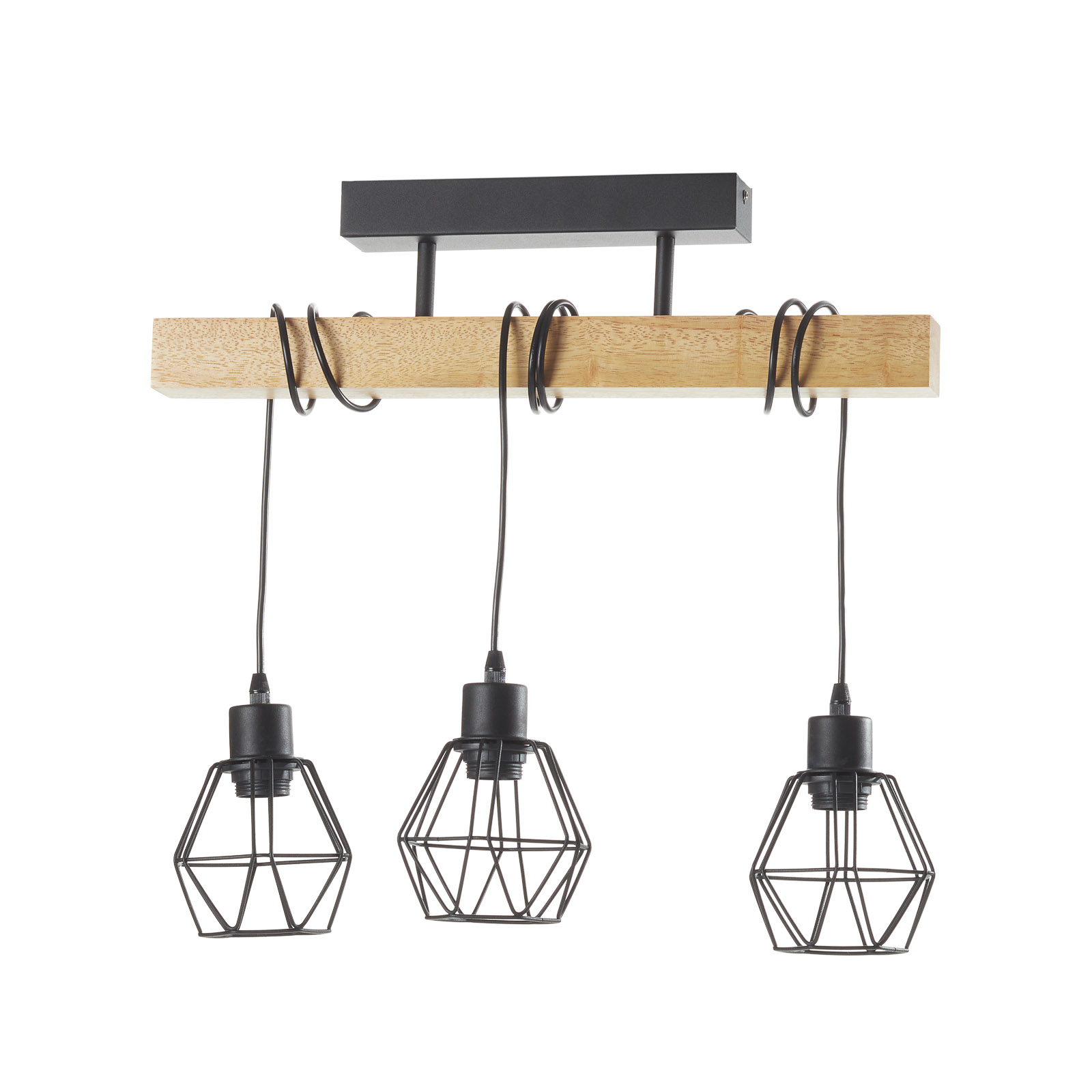 Plafondlamp Townshend 5 met 3 kooikappen