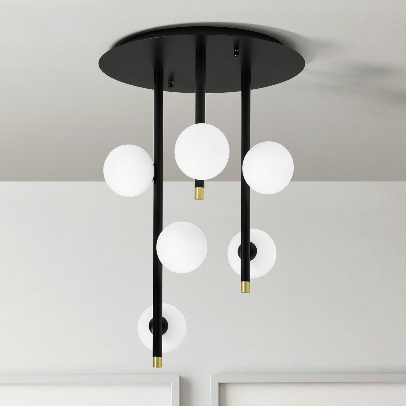 Lampa sufitowa Pomì z sześcioma szklanymi kulami