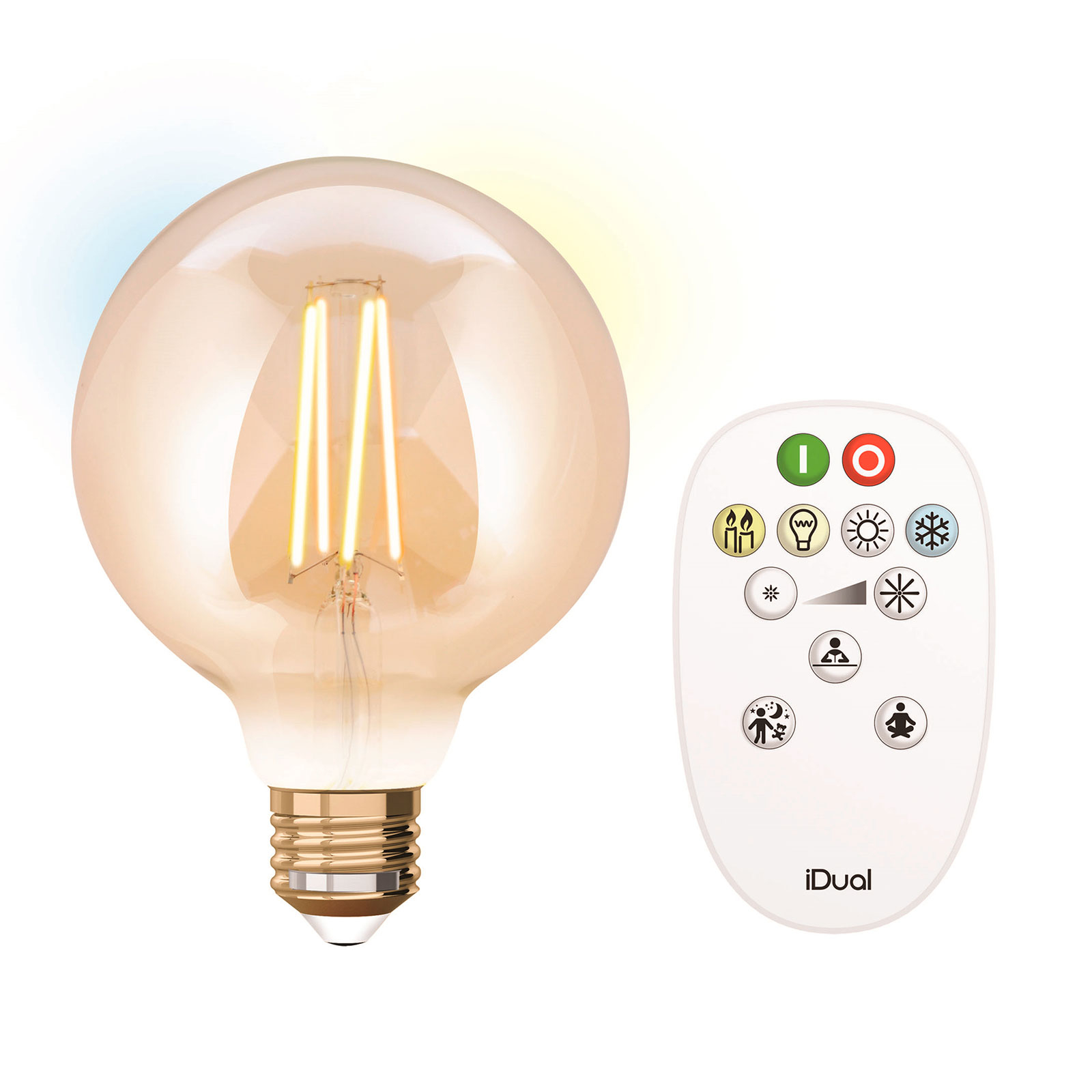 iDual LED-Lampe E27 9W m. Fernbedienung 9,5cm