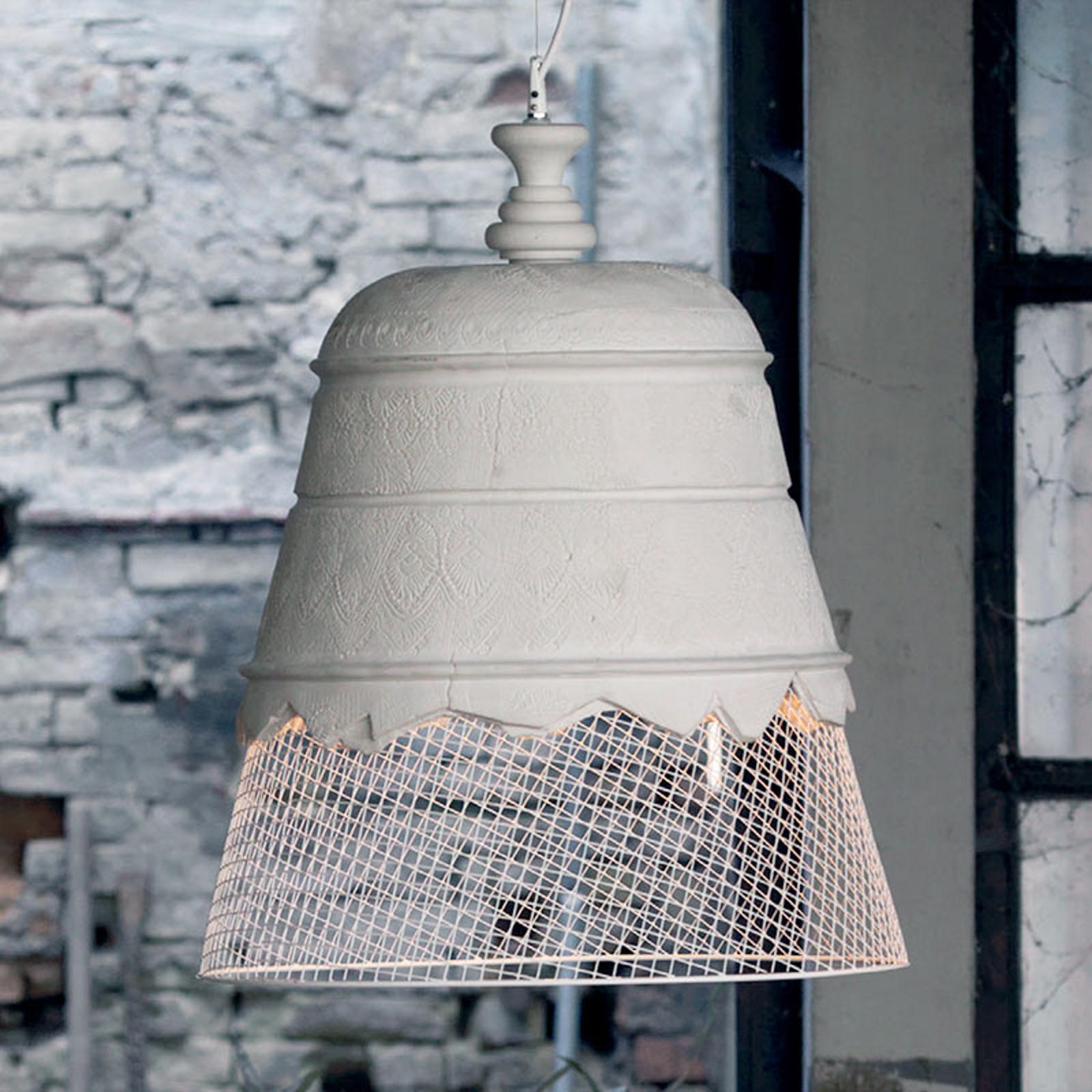 Gipsowa lampa wisząca Domenica, biała, 50 cm