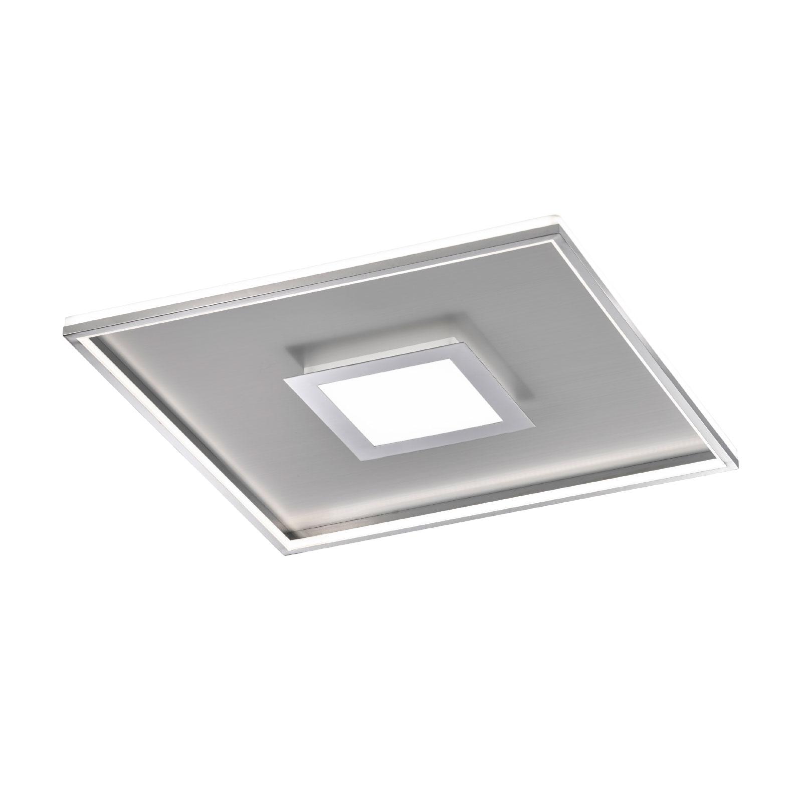 LED-taklampe Zoe, kvadrat, krom, 60x60 cm