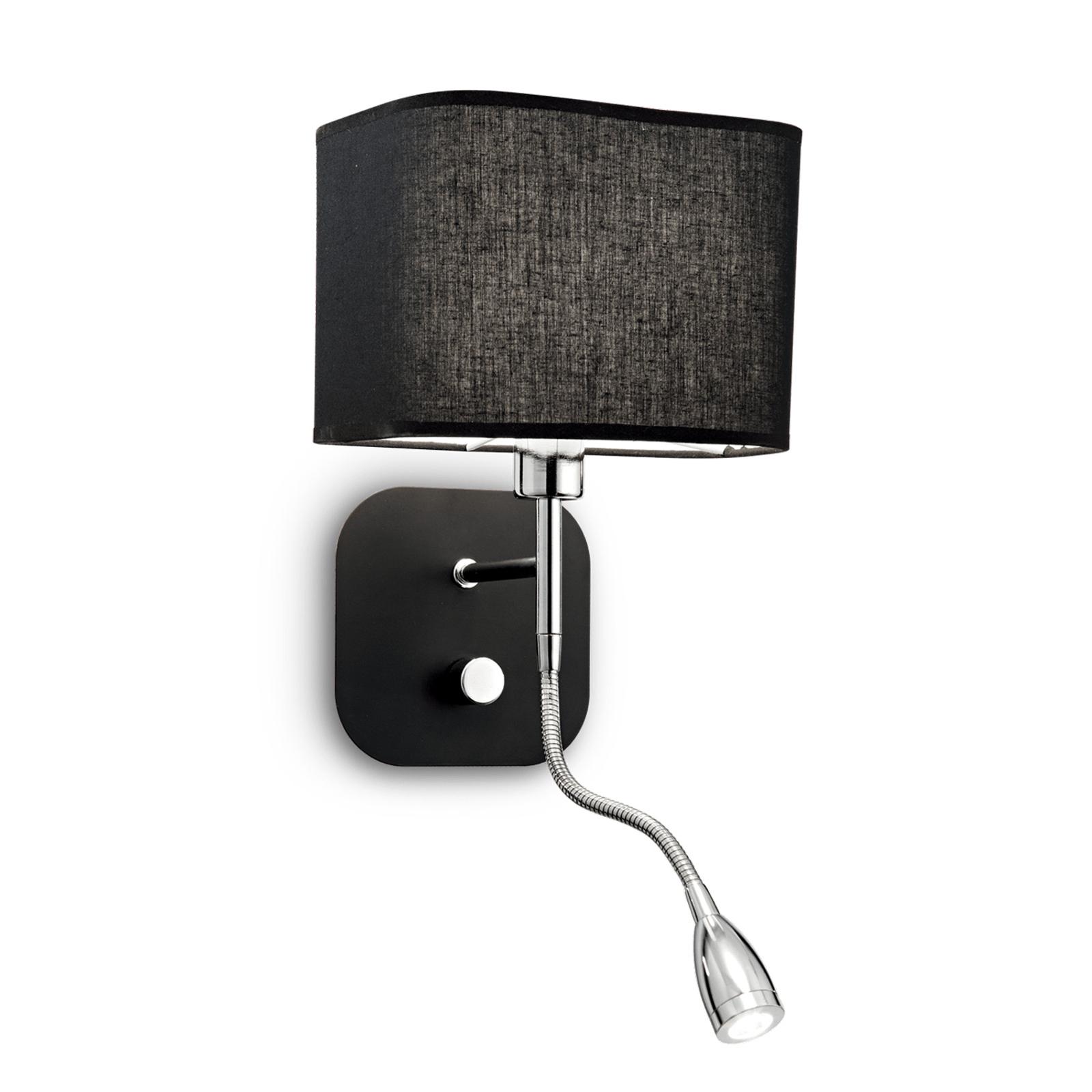 Wandlamp Holiday leeslamp flexibele arm, zwart