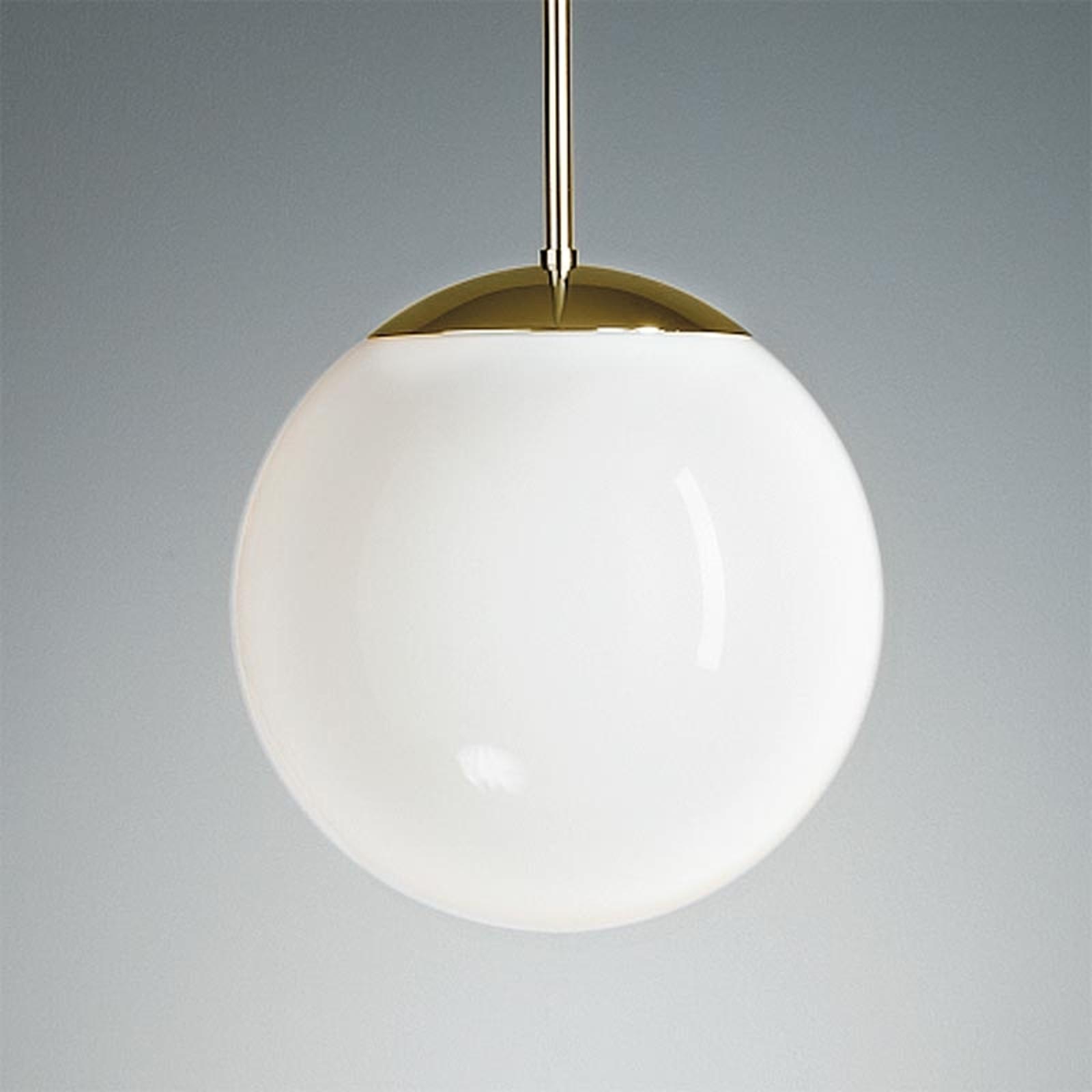 Lampa wisząca z opalowym kloszem 30 cm mosiądz
