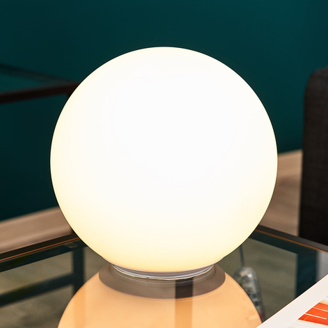 Lámpara de mesa de vidrio Dioscuri esférica, 25 cm